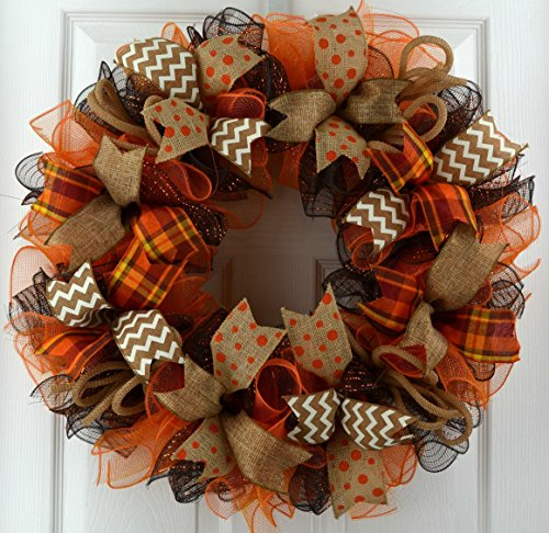 Wreaths for Fall | Brown Orange Burlap Fall Thanksgiving Deco Mesh Door Wreath; Yellow White : F3 -