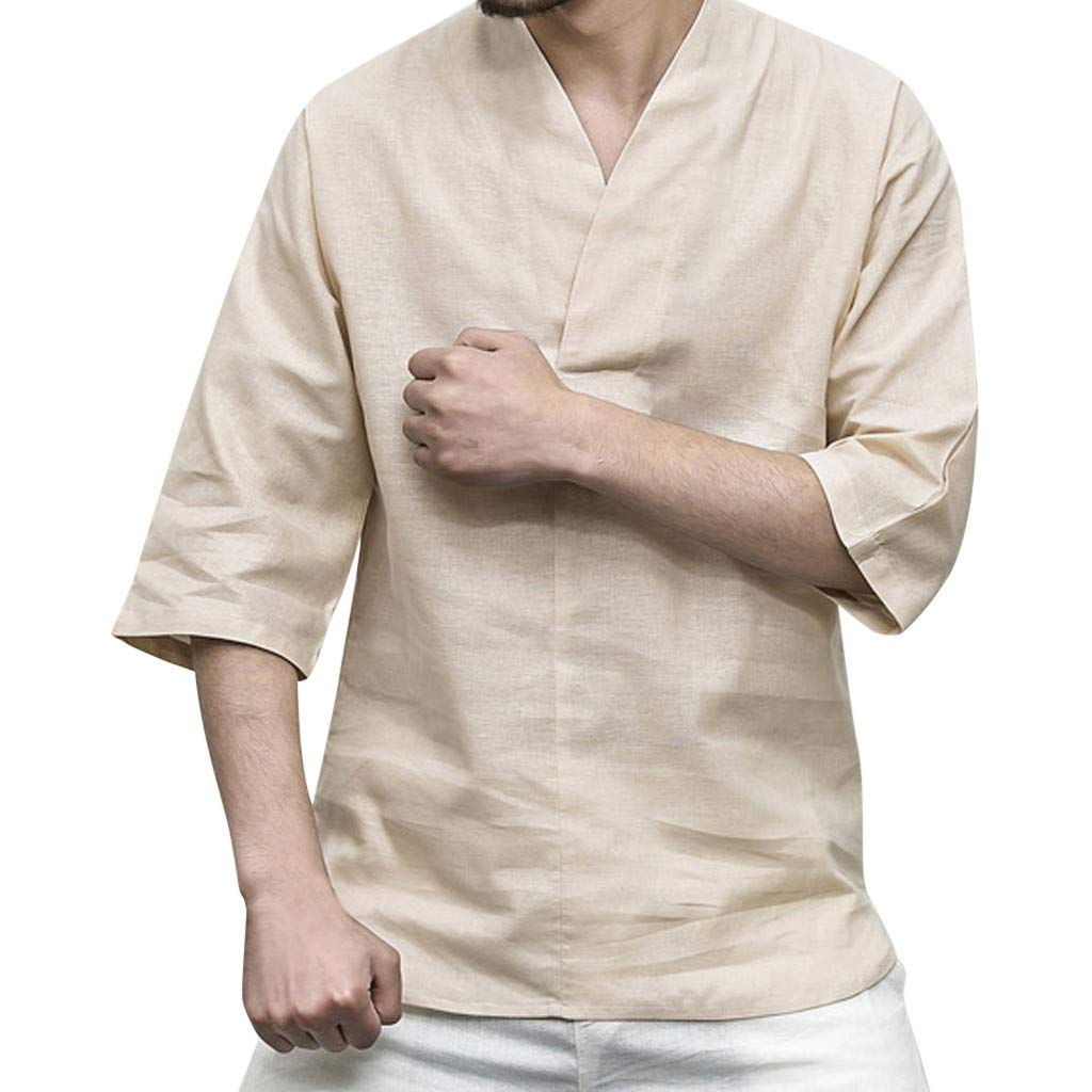 Men Linen Shirt Patchwork Seven Minute Sleeve Solid Loose V Neck Comfortable Classic T Shirt (M, Beige) by Pafei Men's shirts (Image #1)