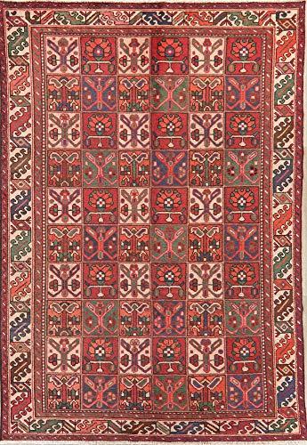 Vintage Garden Design Bakhtiari Persian Oriental Area Rug Hand-Knotted Wool 7X10 Bakhtiari Hand Knotted Rug