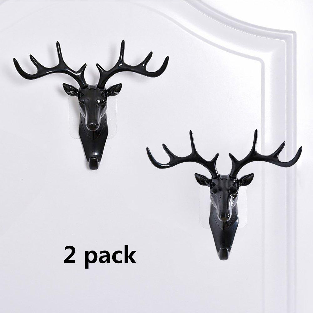 Deer Head Decorative Hook Wall Mounted Rack Set of 2 Made of Resin Lightweight Antler Removable Hook for Key Umbrella Hat Coat Jewelry Animal Shape Holder (2Black)