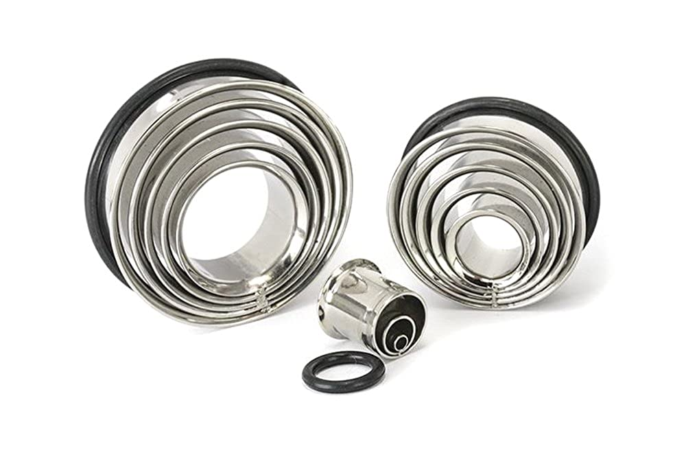 Price Per 1 Painful Pleasures Multi Tunnel Stainless Steel Single Flare Earlets 8mm up to 50mm