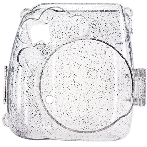 Elvam Transparent Camera Case Bag Compatible for Fujifilm Mini 9 Mini 8 Instant Camera with Detachable Adjustable Strap -Crystal (Polaroid Transparent)