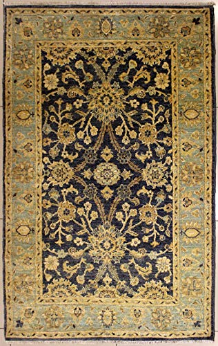 (RugsTC 3'9 x 5'11 Chobi Ziegler Area Rug Made Using Vegetable Dyes with Silk & Wool Pile | 100% Original Hand-Knotted in Grey,Greenish Blue,Beige Colors | a 4x6 Rectangular Double Knot Rug)