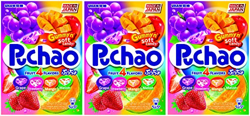 Gummy Melon (Puchao Gummy n' Soft Candy, 4 Fruits Flavors, 3.53 Ounces, Pack of 3)