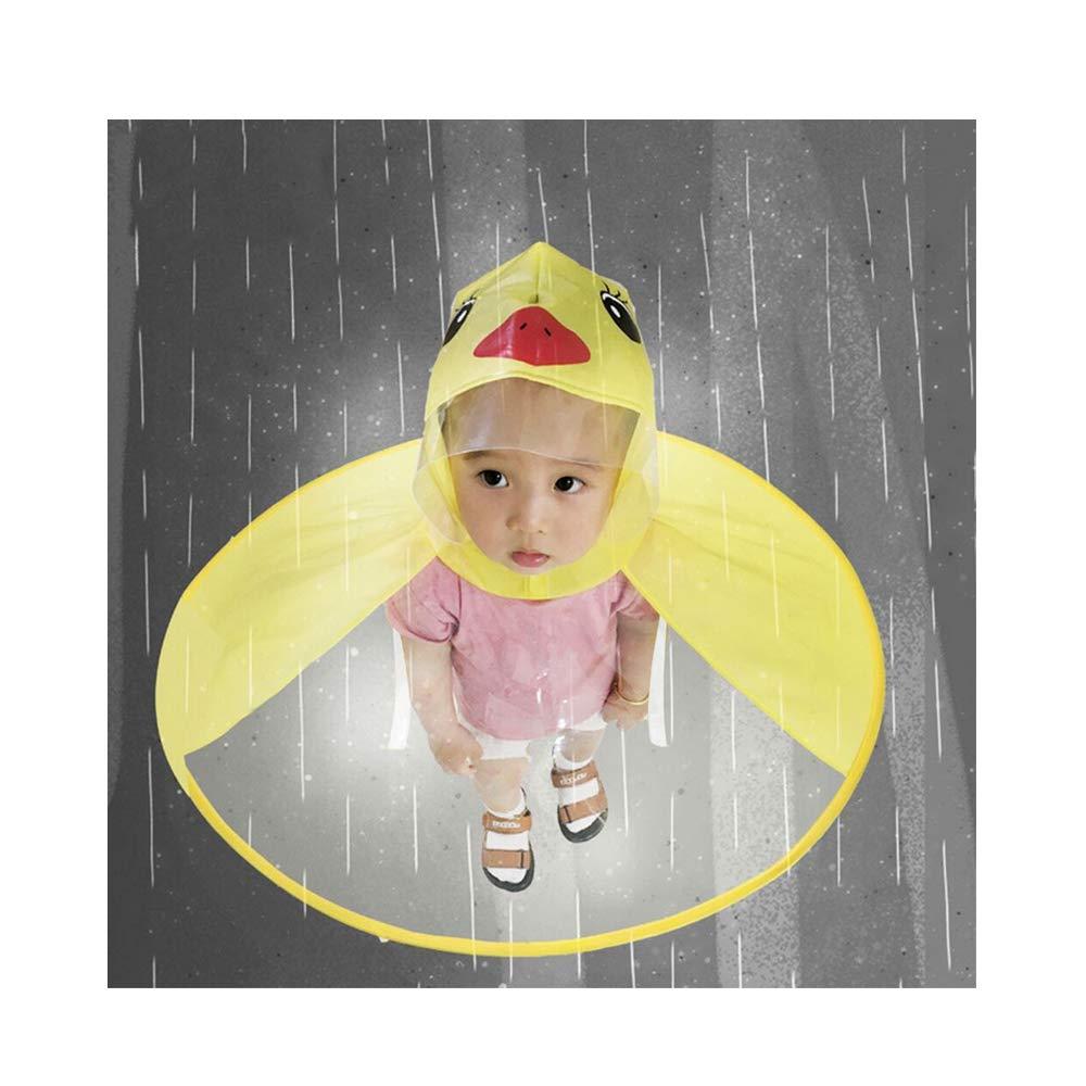 JAWM 可愛らしい黄色のダックリングチャイルドレインコート傘 UFO子供用傘帽子 マジカルハンズフリー レインコート B07P8LS91B