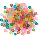 Craftdady 500Pcs 4mm Transparent Frosted Glass Beads Tiny Crystal Glass Round Loose Spacer Beads Random Mixed Colors for…