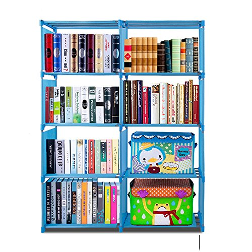 rganizer Home Furniture Adjustable Bookcase Storage 4 tier 8-cube DIY Open Bookshelf for Home Office [US Stock] (Blue) ()