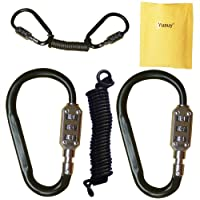 Yuauy 2 pcs Zine-Alloy Black Lock Carabiners Resettable 3 Dial Digit Combination Password Code Lock Padlock for Suitcase…