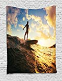 XHFITCLtd Ride The Wave Tapestry, Sunset Surf in the Ocean Young Woman under Dramatic Sky Exotic Hobby Image, Wall Hanging for Bedroom Living Room Dorm, 60 W X 80 L Inches, Sepia Blue