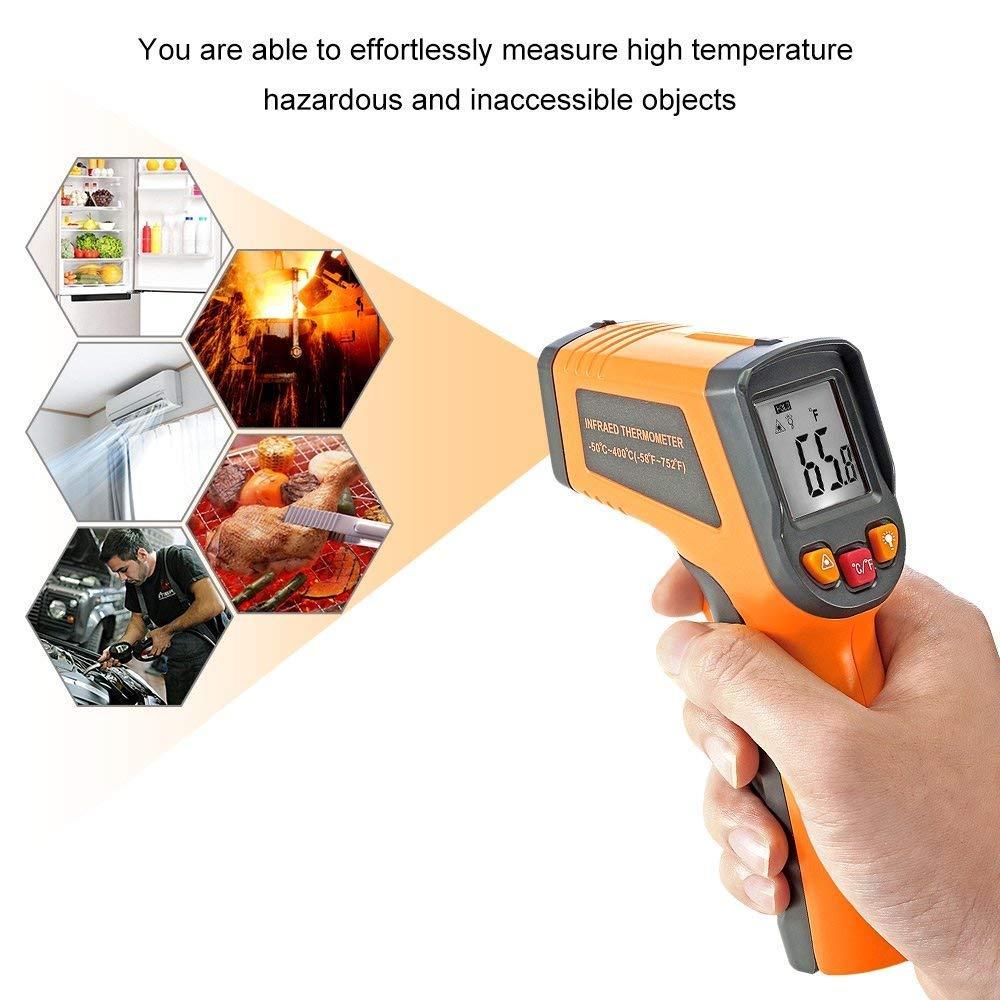 con LCD Retroiluminaci/ón de 50 a 400 /°c Medidor de temperatura Joyhero El/éctrico Laser Infrarrojo Term/ómetro//pir/ómetro