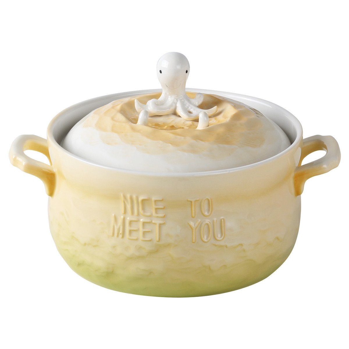 UPSTYLE Microwave Oven Ceramic Soup Bowls 3D Cute Ocean Animal Yellow Octopus Instant Noodle Bowl Cereal Serving Pot/Casserole for Salad Fruit with Lid and handle,29oz (Yellow Octopus)