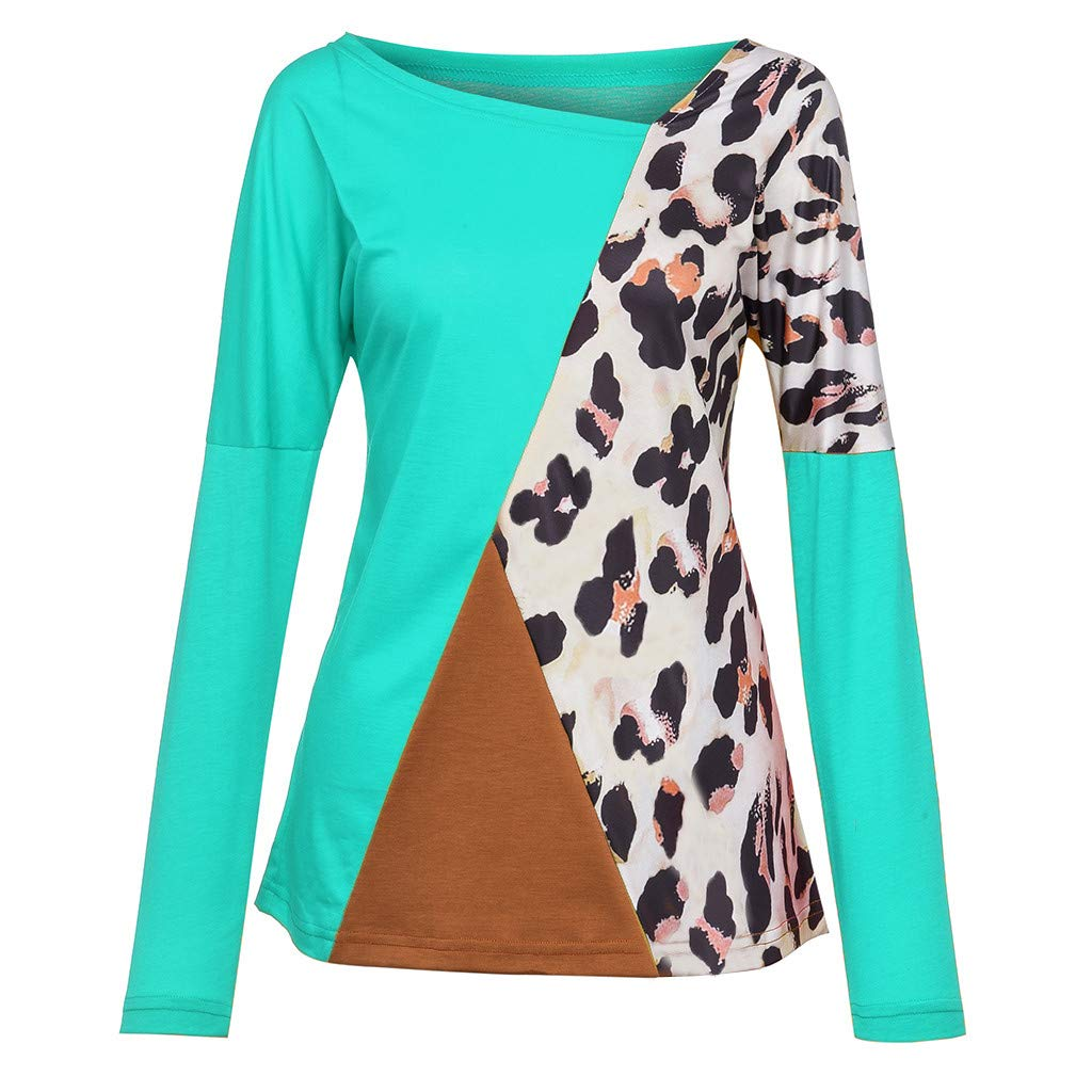 Dunacifa Women Casual Long Sleeve Shirts Round Neck Patchwork Pullover Leopard Printed T-Shirt Blouse Tops Sweatshirt