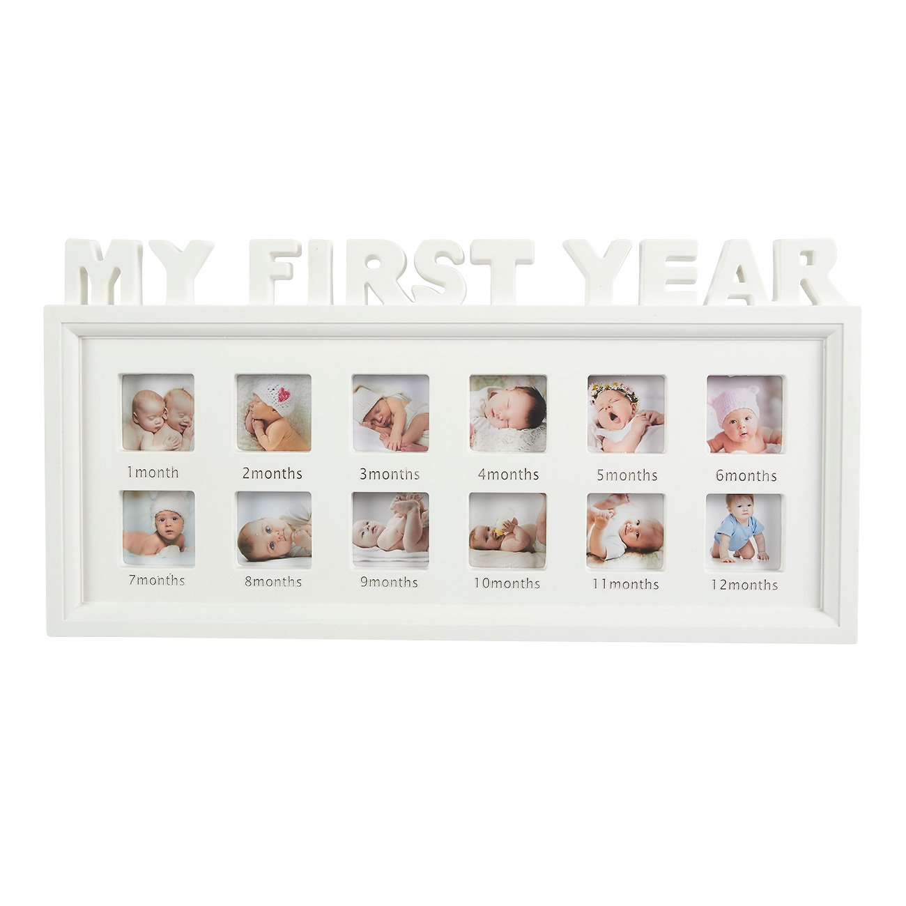 Juvale My First Year Baby Picture Frame - 12 Month Photo Frame - Holds 12 Photos, One for Each Month, 16.2 x 8 x 1 Inches, White
