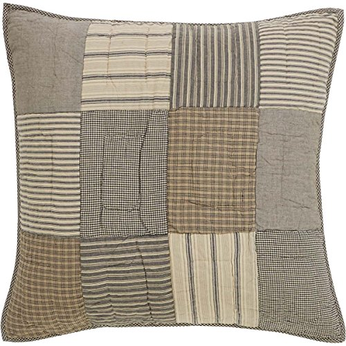 VHC Brands Farmhouse Bedding-Sawyer Mill Grey Quilted Euro Sham (Euro Quilted 3 Shams Pillow)