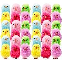 KESYOO 36Pcs Mini Easter Chicken Colorful Tiny Fluffy Chick Model Bulk Plush Chicken Figurine Easter Egg Bonnet Wreath…