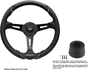 MOMO Gotham 350mm (13.78 Inches) Leather Steering Wheel w/Brushed Black Anodized Spokes and Crowder's Hub Adapter for Alfa Romeo Spider Duetto Part # GOT35BK0B + 0512