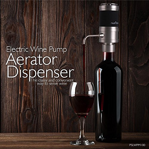 Stainless Steel Electric Wine Aerator - Unique Air Decanter Diffuser System for Red and White Wine - Portable and Automatic Bottle Breather Tap Machine Dispenser Pump - NutriChef by NutriChef (Image #2)