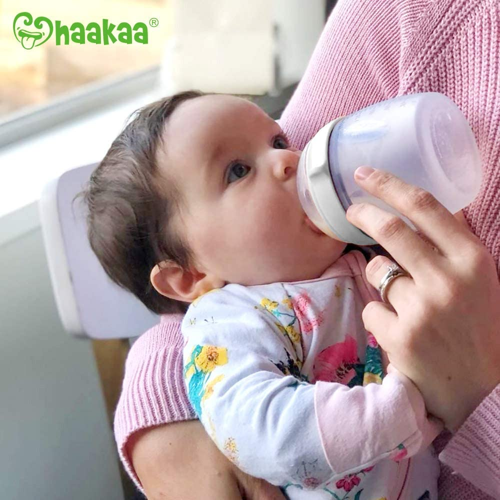 Grey 5oz + M Haakaa Silicone Baby Bottle 5 oz with M Nipple Set ...