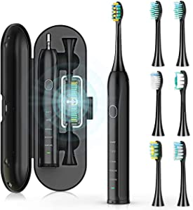 Sonic Electric Toothbrush for Adult and Kids,Powerful Whitening Toothbrush with 6 Dupont Brush Heads with UV Sanitizer Case,5 Modes Rechargeable Travel Toothbrushes,45 Days Long Battery,Smart Time