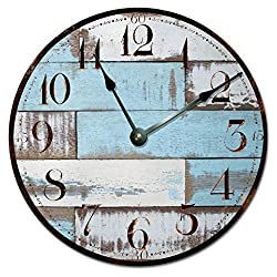 BLUE RUSTIC WOOD CLOCK Extra Large 15.5 to 16 Wall Clock - Decorative Round Wall Clock - PRINTED WOOD IMAGE