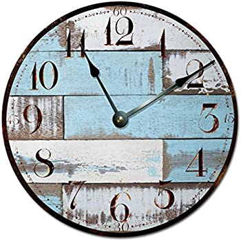 Amazon Com Sugar Vine Art Blue Rustic Wood Clock Extra
