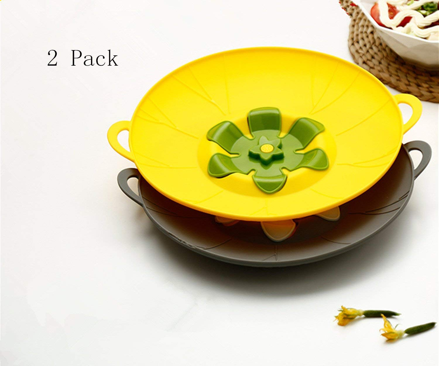 Case of 50,Spill Stopper Lid Cover, Boil Over and Splatter Safeguard, Silicone Pot Pan Lid, Multifunctional Kitchen Tool, Pack of 2 (Yellow & Gray)
