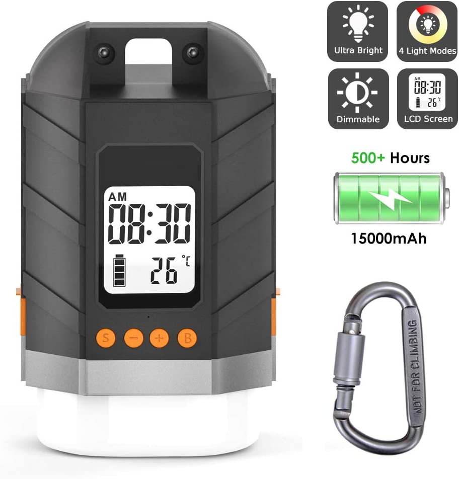 Sinvitron LED Camping Lantern Rechargeable Power Bank 15000mAh, Camping Tent Light W Up to 500H Light Time LCD Screen, 4 Light Mode, IP65 Waterproof for Emergency, Hurricane, Power Outage, Hiking
