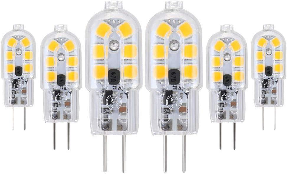 OSDUE G4 LED Bombillas, G4 LED Lámpara Estuche Transparente 1.8W Equivalente a 30W Bombillas Halógenas, 12-24V AC, 3000K Blanco Cálido, 180LM, 360° Ángulo de haz, No Regulable - Pack de 6