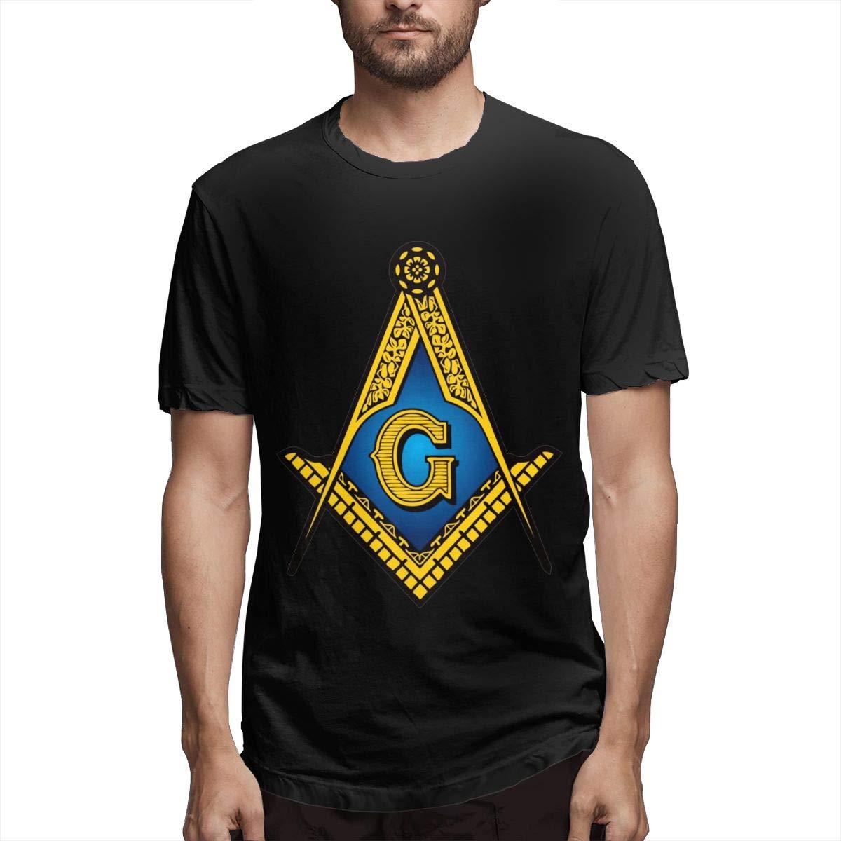 Marsherun Men Freemason Square and Compass Comfortable Short Sleeve Tee Shirt