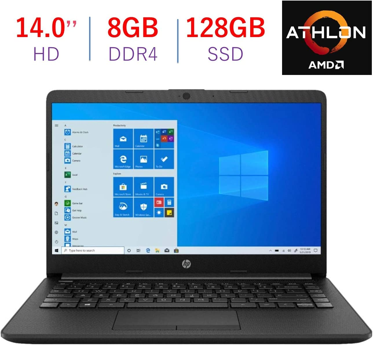 HP Pavilion 14'' HD Anti-Glare Display Laptop PC, AMD Athlon Silver 3050U 2.3GHz, 8GB DDR4, 128GB SSD, AMD Radeon Graphics, Bluetooth, Webcam, Stereo Speakers, HDMI, Windows 10 w/TIGOLOGY Mousepad