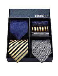 HISDERN Lot 3 PCS Classic Men's Silk Tie Set Necktie & Pocket Square - Multiple Sets