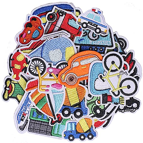J.CARP 30Pcs Car Embroidered Iron on Patch for Clothes, Iron-on Patches / Sew-on Appliques Patches for Clothing, Jackets, Backpacks, Caps, Jeans