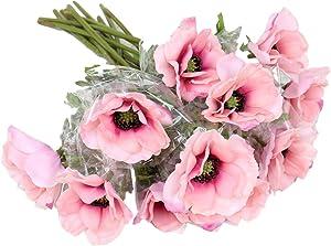 "LebriTamFa 5Pcs Artificial Pulsatilla Chinensis 19"" Stems Fake Anemone Grecian Windflower Artificial Silk Flower Bouquets Room Home Decor Flower Arrangement Wedding Decoration (Pink)"