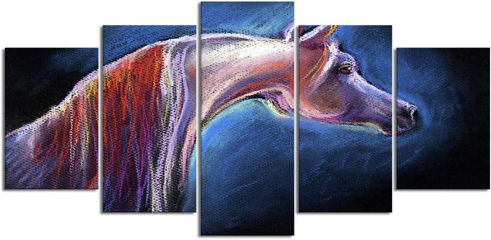 YOUMEISU Cuadro en Lienzo,5 Partes Pintura al óleo Caballo Personalizado Retrato Semental Mustang Surreal de Arte de Pared Decoración del Hogar para el Cartel Modular