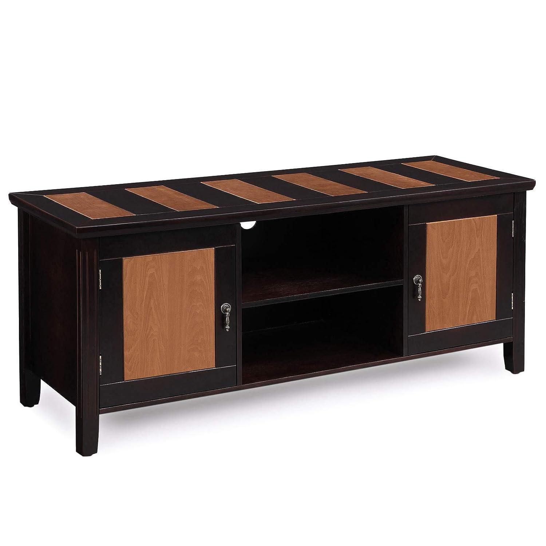 VASAGLE Fernsehtisch, Holz TV-Schrank mit offenen Ablagen, für Wohnzimmer, Fernsehzimmer, Büro, Beine aus Massivholz, einfache Montage, rustikal, LTS01CY
