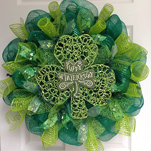 Happy St Patrick's Day Glittering Shamrock Deco Mesh Wreath