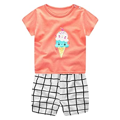 Unisex Newborn Infant Baby Boys Girls Cotton Cartoon Print Outifits Clothes Sets