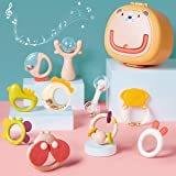 GILOBABY 10PCS Baby Rattles Set, Infant Grasping Grab Shaker Teether Toys with Storage Box, Early Educational Toys for 3…