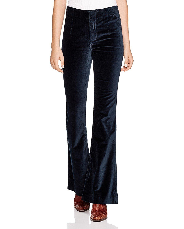 Free People Women's Oxanna Velvet Flared Bell-Bottom Pants (26, Jewel Green)