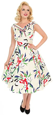 673315fc65c Hearts   Roses Damen Kleid Heaps Of Leaves Retro Swing Dress  Amazon ...