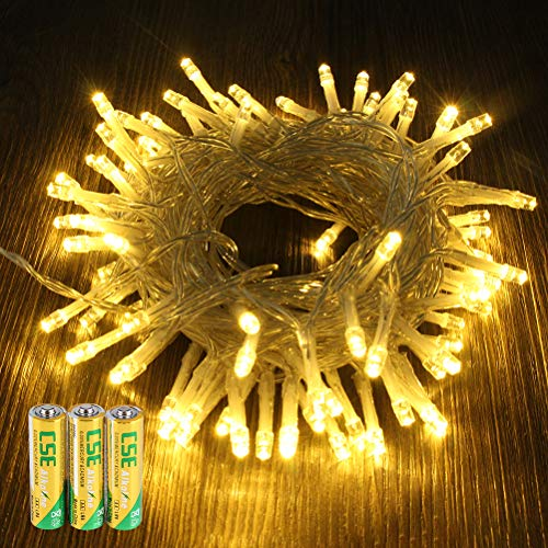 BOMEON Fairy Lights Rose Gold Wire - Battery Operated 100 LED Warm White Decorative Mini Bulbs for Bedroom, Outdoor, Indoor and Bedroom String Decor
