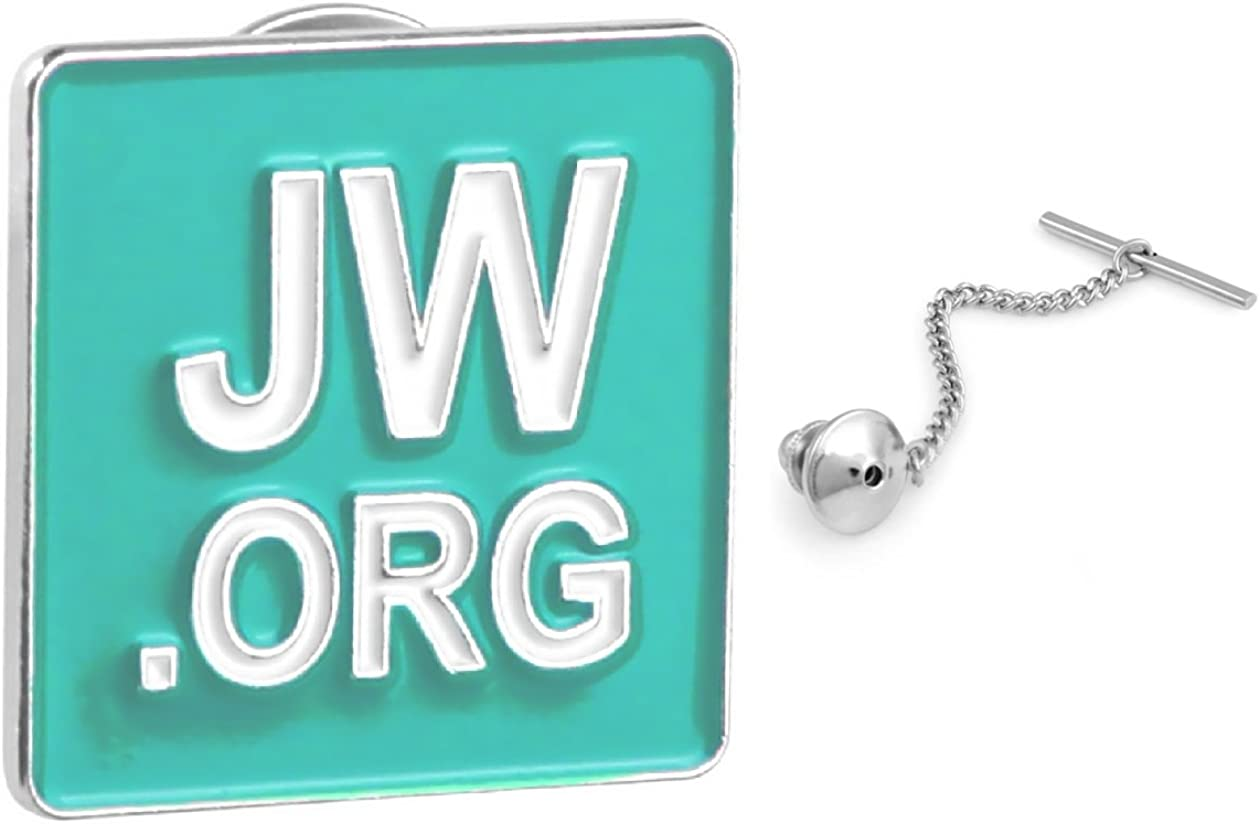 PONTITIES JW.ORG Tie Tack Blue Square with Spring Loaded Tie Tack with Chain Gift Box JWTTS
