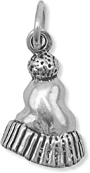Oxidized Sterling Silver Winter Hat/Beanie/Stocking Cap Charm, 5/8 inch