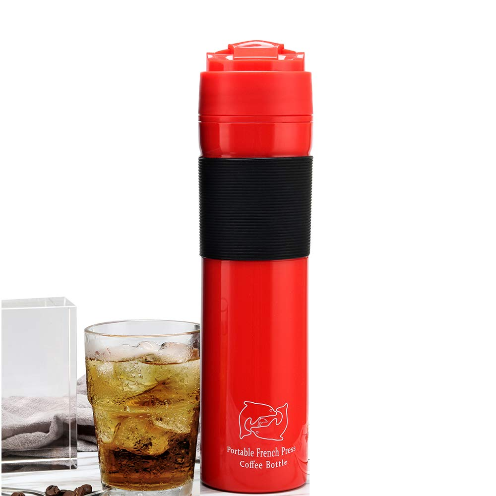 MG Coffee Portable Travel French Press Plunger Coffee and Tea Mug for Outside Camping Use 12oz (Red)