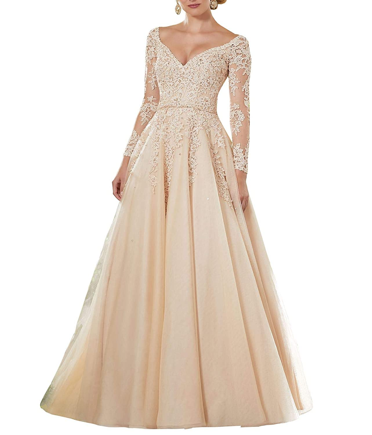 Champagne Wanshaqin Women's Lace Appliqued VNeck Formal Evening Gown Sleeves Tulle Party Dress with Empire Jewelled Waist