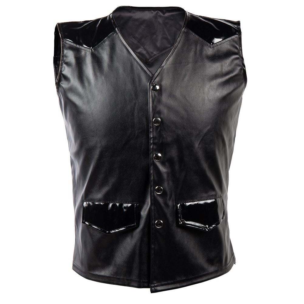 Bslingerie Mens Steampunk Faux Leather Gothic Waist Cincher Corset Vest (XL, Black)