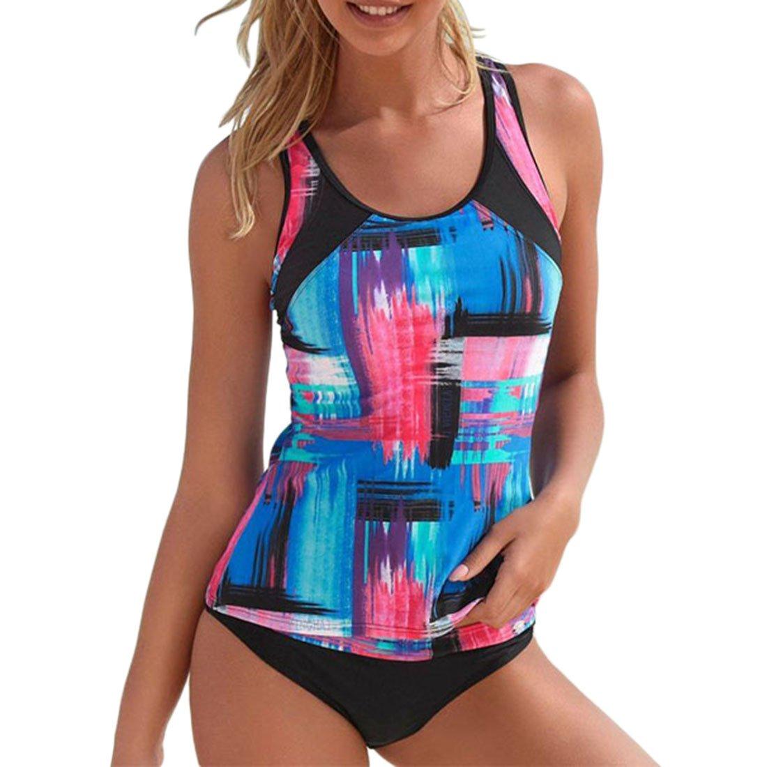 Shinekoo Damen Bademode Elegant Farbdruck Top + Slip Tankinis Bademode Große Größen Bikini-Sets