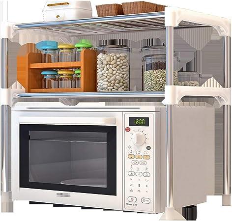 Jtoony-HO - Estantería para microondas, Cocina, microondas, Horno, estantería, 2 estantes, Unidad para Utensilios de Cocina y Accesorios, Metal, Plateado, 57X48X30CM: Amazon.es: Hogar