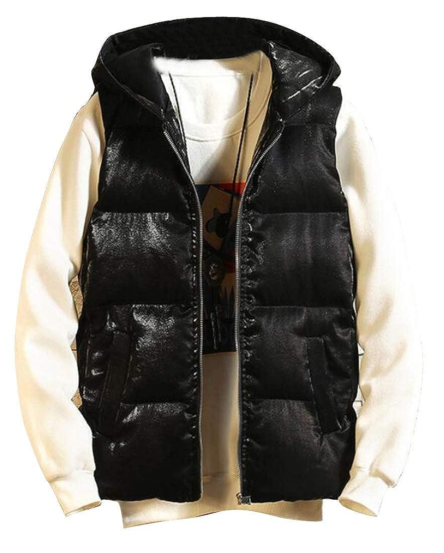 Fubotevic Mens Loose Fit Full-Zip Winter Sleeveless Thicken Hoodie Down Coat Vest Waistcoat