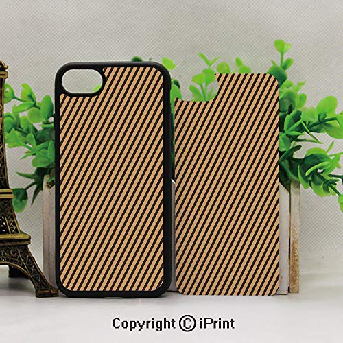 Customized Apple Mobile Shell,Protective Hybrid Rubber Bumper,Brown Toned Diagonal Lines Stripes Modern Geometrical Image Art Print DecorativeSand Brown Chocolate ()